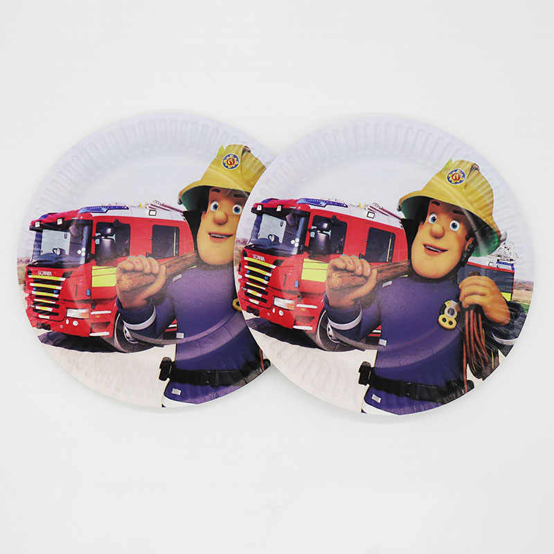 10pcs 7inches disposable paper plates Fireman Sam theme party decorations Fireman Sam disposable paper plates