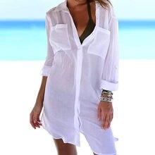 Vêtements de plage Femmes Hauts Et Chemisiers Couvrir Perspective Robe De Plage Caftan Chemises Maillots De Bain Blanc Tunique Vêtements Surdimensionné Tops