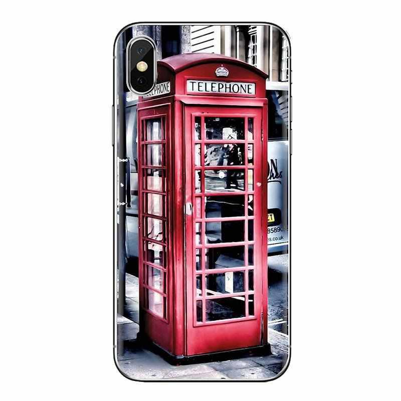 Para Xiao mi mi mi 4 5 6 5S mi mi mi A1 A2 5X6X8 9 lite SE Pro Max mi mi x 2 3 2S London Cabine Telefônica Vermelha Caixa de Casos De Telefone de Silicone