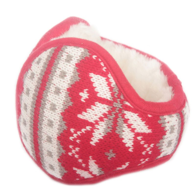 Women Men Snowflake Knitted Earmuffs Foldable Winter Thicken Plush Ear Warmers LX9E