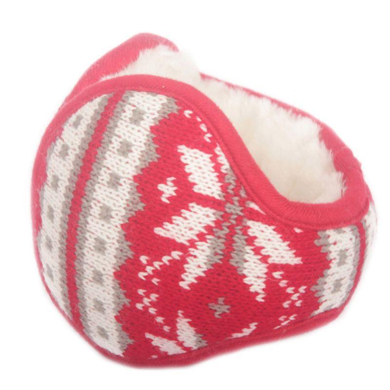 Women Men Snowflake Knitted Earmuffs Foldable Winter Thicken Plush Ear Warmers LX9E