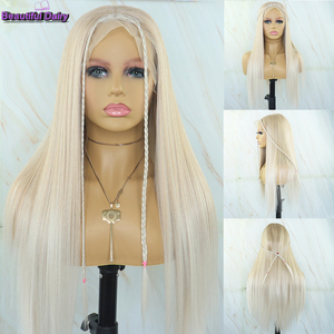 Hermosas pelucas de diario Rubio liso sedoso peluca sintética de pelo 13x6 con malla frontal s peluca con malla frontal s de alta temperatura peluca con malla frontal para mujer