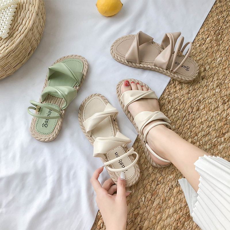 Fashion Womens Shoes 2020 Sandals Straps All-Match Clear Heels Suit Female Beige Slip-on Loafers Summer Women's Luxury Lace Up(China)