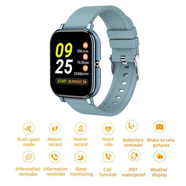 New Smart Watch Electronic Sports HD Touch Bluetooth Call Bracelet with Heart Rate Detector, Pink/Black/Silver Gray/Blue 1
