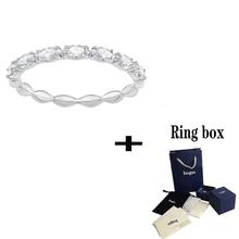 SWA 2019 nowy przezroczysty kryształowy pierścień delikatny prosty damski biżuteria dla dziewczyn moda romantyczny prezent urodzinowy tanie tanio Xin JIU NAI Brak CN (pochodzenie) Kobiety Spinel CNAS Grzywny Prong ustawianie Pierścionki ROUND Biuro kariera Zespoły weselne
