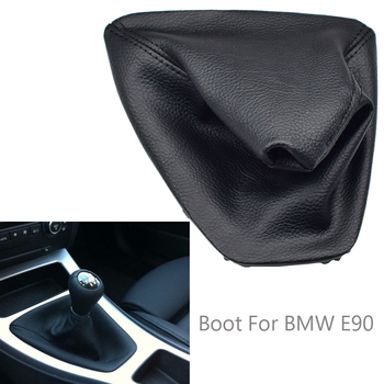 Real Leather Gear Shift Lever Knob Shifter handbrake Gaiter Boot Dust-Proof Cover Fit For BMW E90 image