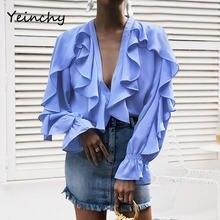 Yeinchy Модный женский шифоновый топ с v образным вырезом и