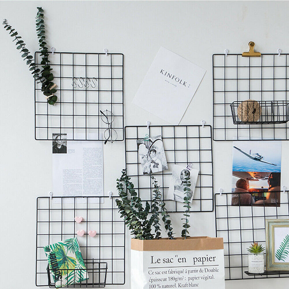 1Pc Nordic Style Metal Mesh Grids Pictures Postcards Wall Frame Storage Rack Hanging Modern Home Wall DIY Decoration