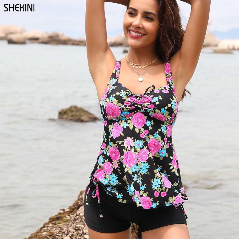 SHEKINI Womens Plus-Size Swimsuit Floral Print Two Piece Tankini Swimwear