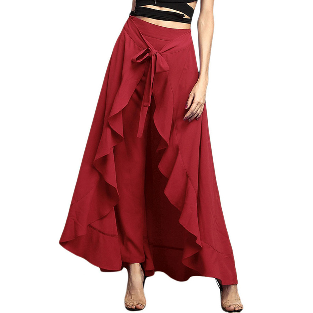Women Palazzo Pants 2020 Causal Ruffle Drawstring Trouser Elegant High Waist Irregular Loose Pure Color Autumn Female Pant Skirt 9