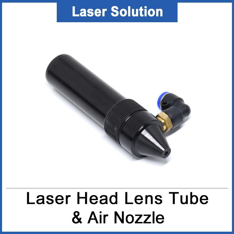 CO2 Laser Head Lens Tube + Air Nozzle For Lens Diameter 20mm Adjust Focal Length 50.8/63.5mm For CO2 Laser Machine