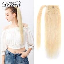Волосы Doreen, европейские волосы машинной работы, Remy, 100% натуральные человеческие волосы, удлинители конского хвоста, длинные волосы с конски...