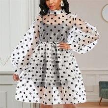 Kadınlar Polka Dots elbise şeffaf uzun fener kollu şık seksi parti güzel tarih gece elbiseleri Vestidos 2XL XL