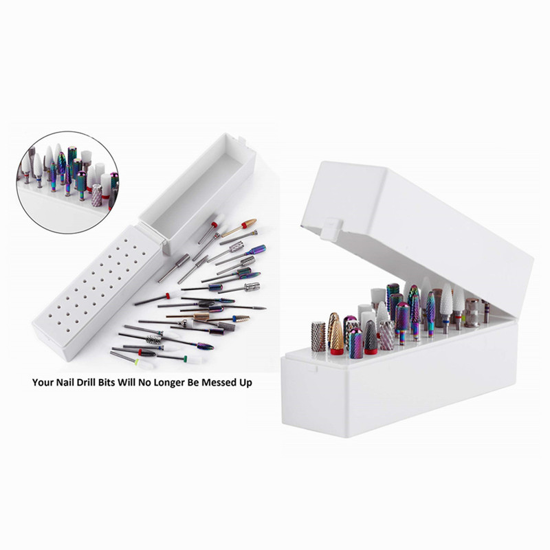 Makartt Nail Drill Bits Holder Dustproof Stand Displayer Organizer Container 30 Holes Manicure Tools F0735