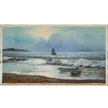 The Coastal Beach Seascape with boat and Wave Landscape Art Oil Painting on Canvas Handpaint