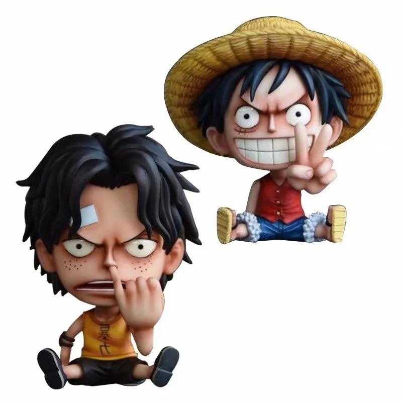 Figuras de acción de One Piece, Luffy Ace, modelo de colección de gestos coleccionables de 10cm de PVC sentado con dientes para niños
