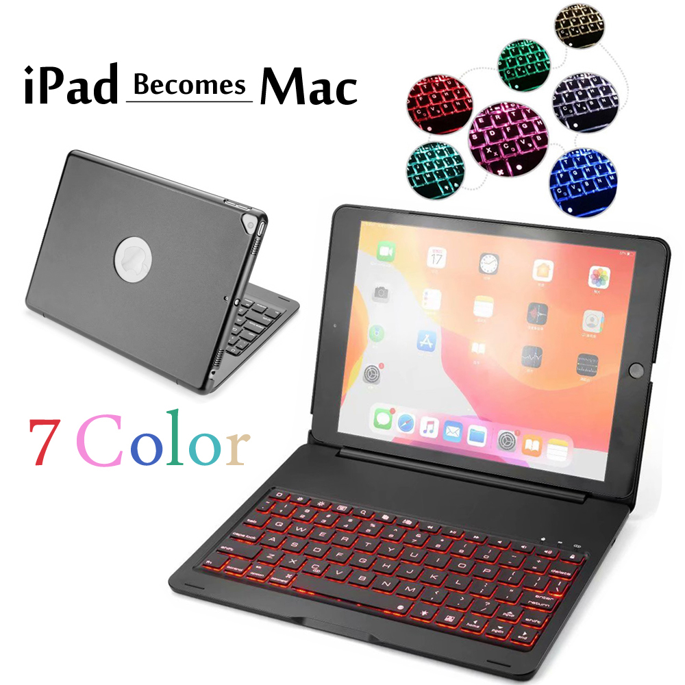 7 Colors Backlit Bluetooth US Keyboard with Stand for iPad 6th Gen 2018 9.7 inch