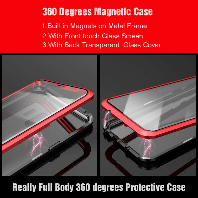 360 Full Body Case For Samsung Galaxy S9 Plus S9Plus Metal Magnetic Bumper &Front Tempered Glass Covers For Samsung S9 Cases 360