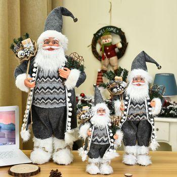 цена на 2021 New Christmas Decoration Santa Claus Doll Gift Christmas Tree Decor Creative Plush Santa Claus Toy Ornaments 30/45/60 Cm