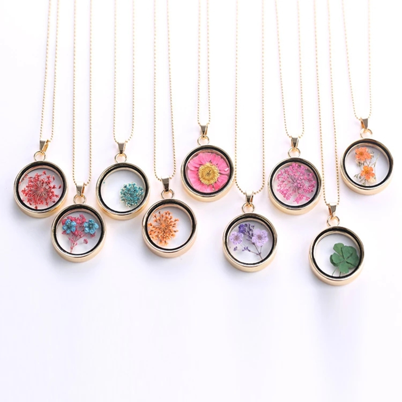 Popular Dried Flower Necklaces Korean Womens Long Gold Beads Chain Colorful Round Pendant Necklace Jewelry For Girls
