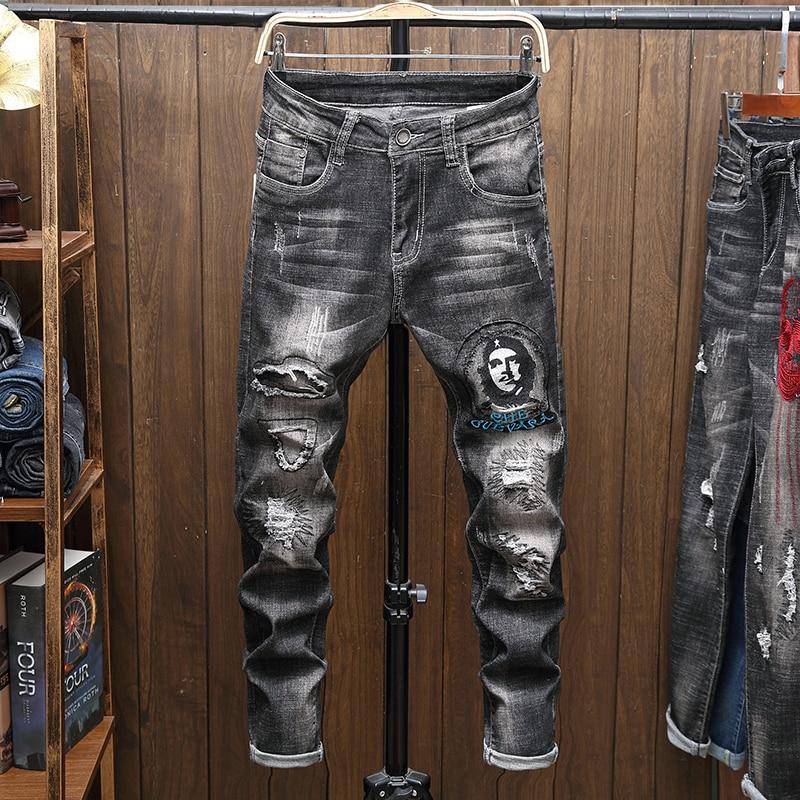 Male Jeans Men Men'S Jean Homme Denim Slim Fit Pants Trousers Straight Black Biker Skinny Ripped Spijkerbroeken Heren Hip Hop