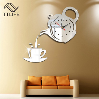 TTLIFE Multicolor Plastic Teapot Wall Clock 3D Wall Sticker Acrylic Removable Mirror Wall Sticker Home Mirror Sticker Mural 2019 halloween proverb letter removable wall sticker