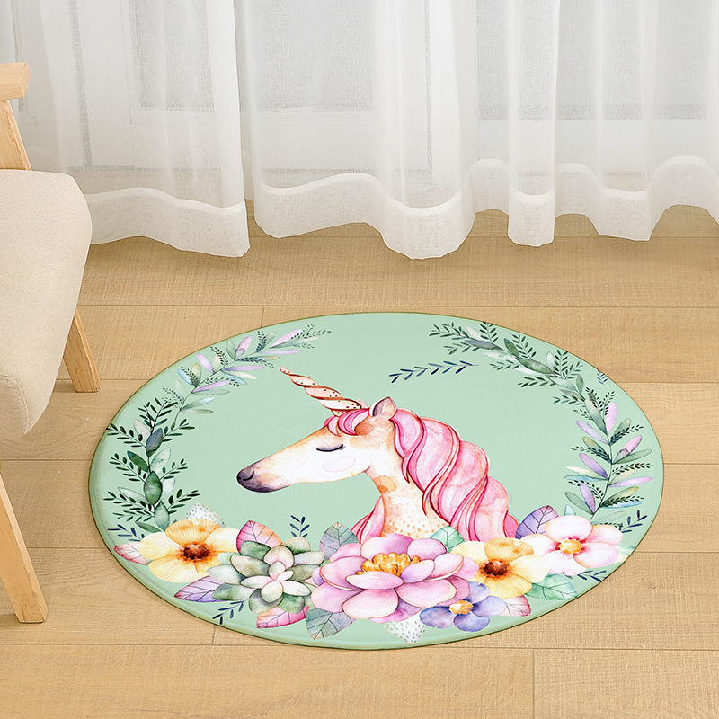Cilected Pink Unicorn Round Carpet Living Room Coffee Table Flamingo Mats Bedroom Chair Mats Bathroom Non-Slip Waterproof Mats