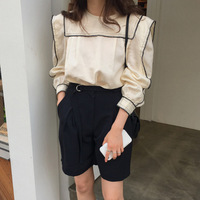 South Korea Early Autumn New Style College Style Sailor Collar Matching Color Flounced Small Fly Sleeve Shirt