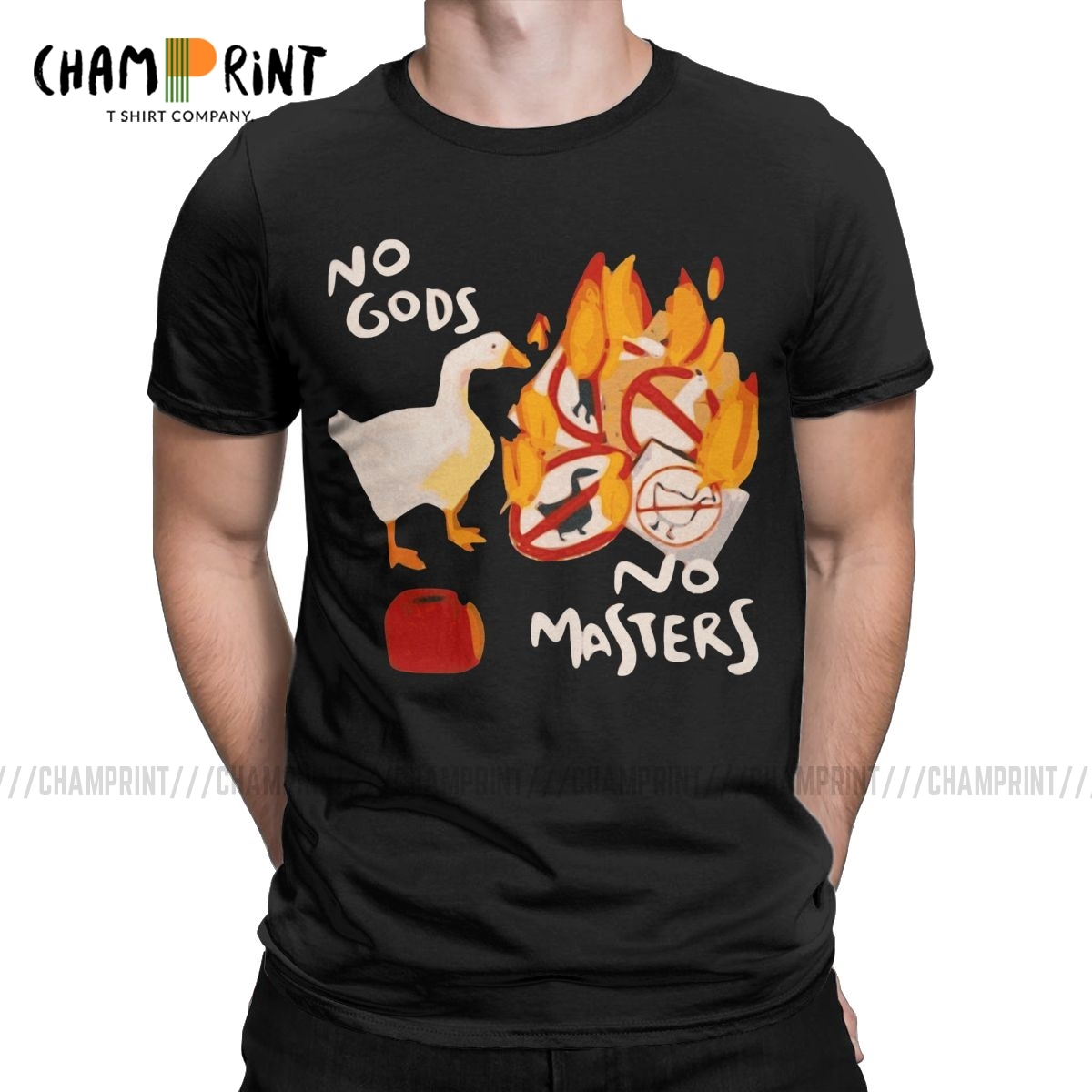 Men's T-Shirts Untitled Goose Game No God No Masters Meme Funny Tee Shirt Short Sleeve T Shirts Crew Neck Clothes 5XL