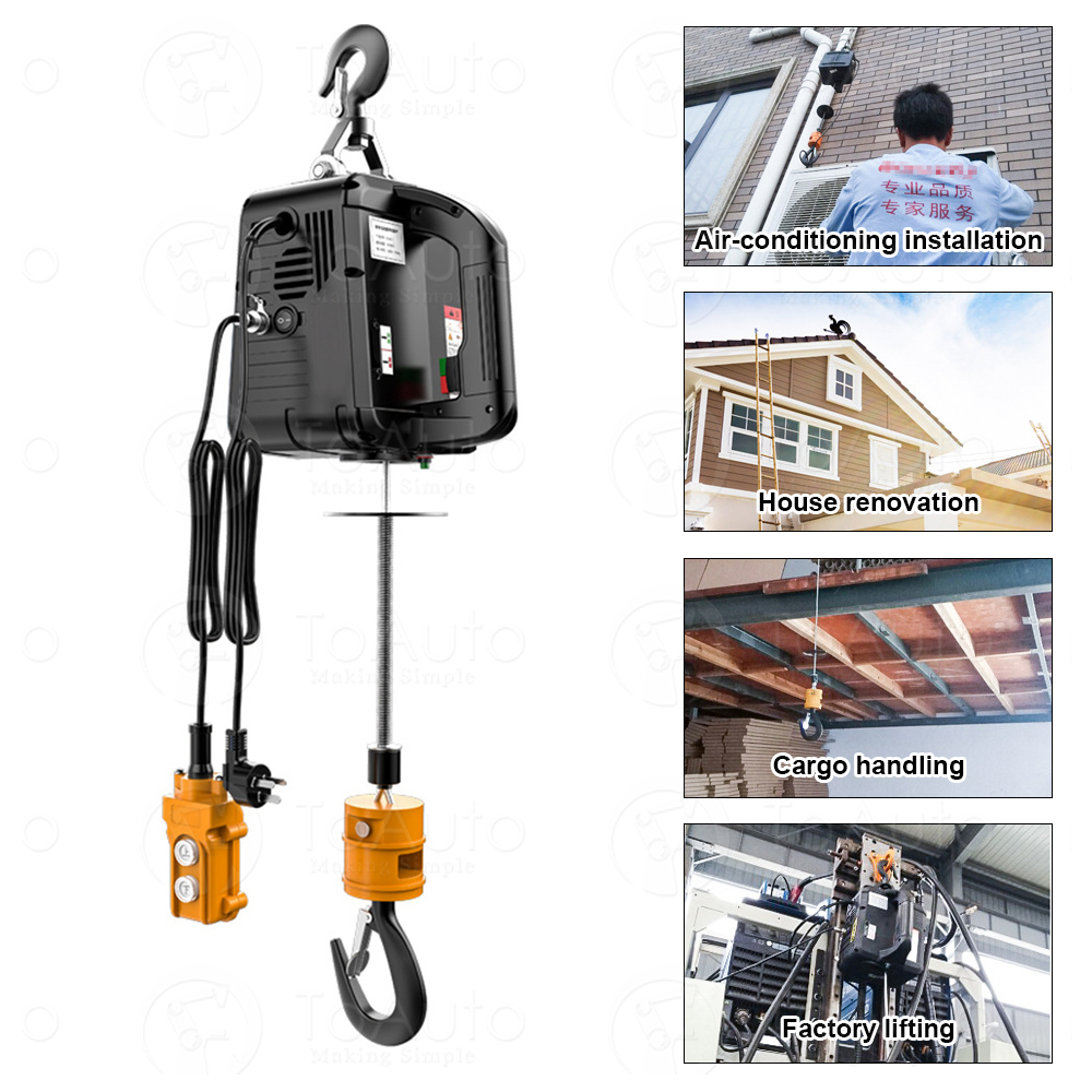 100Kg/200Kg/300Kg Portable Crane Electric Hoist For Cars, Home Improvement, Cargo Handling, Production Workshop Lifting