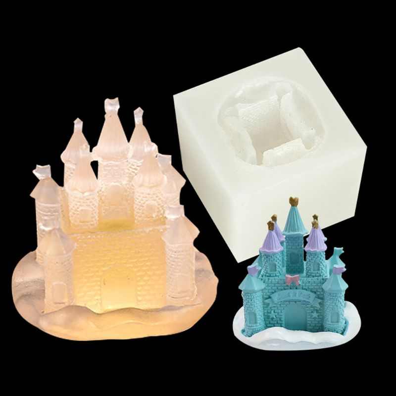 Handmade 3D Castle Modeling Fondant Sugarcraft Cake Mould DIY 3D Soap Epoxy Resin Jewelry Tools Silicone Molds Art Craft
