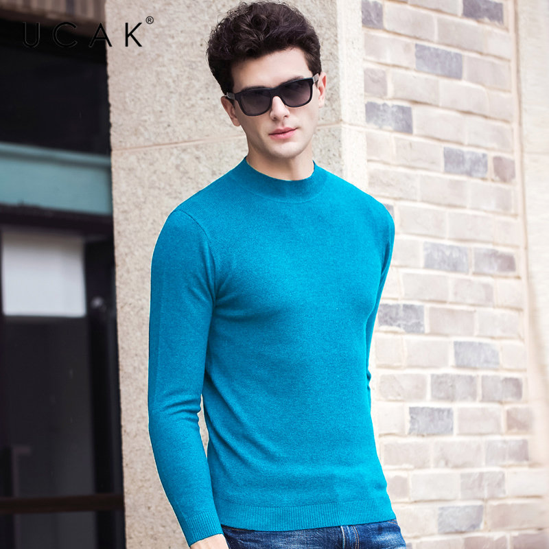 UCAK Brand 100% Merino Wool Sweater Men Autumn Winter Warm Turtleneck Pullover Men Multicolor Knitwear Cashmere Pull Homme U3061
