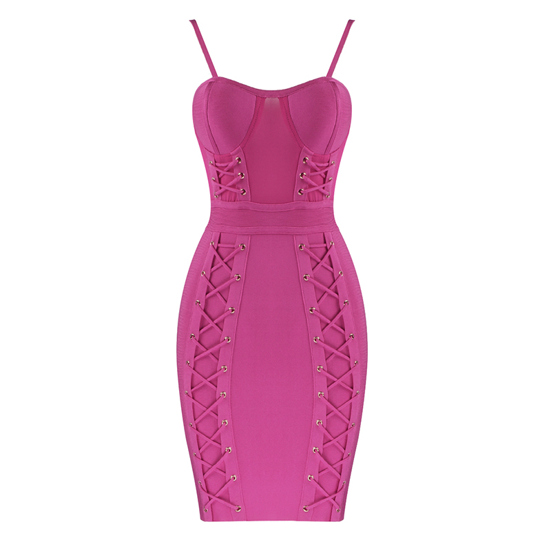 New Summer Fashion Sexy Sleeveless Green Hot Pink Bodycon Bandage Dress 2020 Designer Fashion Party Dress Vestido 5