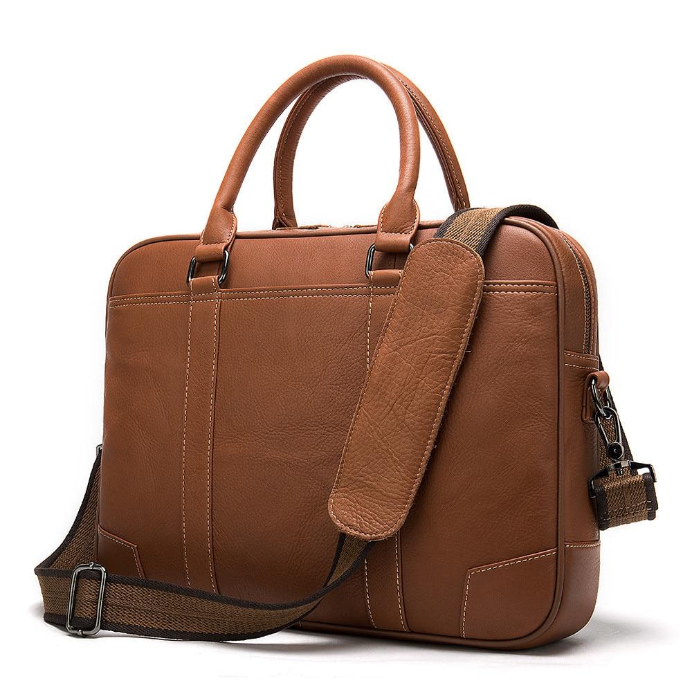 2020 Men's Briefcase 100% Genuine Leather Laptop Bag Men Leather Office Bags For Men Porte Document Business Handbag For Men