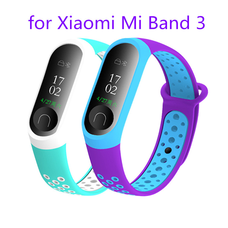 For Mi Band 3 Strap Wrist Strap For Xiaomi Miband 3 Double Color Silicone For Watch Accessories For Waterproof Replacement Strap