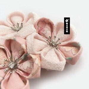 Image 2 - Japon tarzı Tsumami Kanzashi Sakura çiçek Kimono tokalarım aksesuar saf el yapımı saç tokası Pin Headdress saç süsler