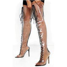 Mode Transparent de Style Américain À Lacets Sexy Sur Le Genou Bottes À Talons Hauts Femmes Chaussures De Soirée Personnalisé Grande Taille 44