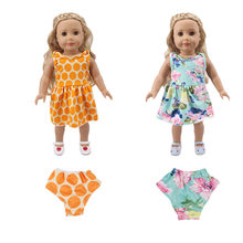 2019 new doll clothes print plug-in dress with underwear for 18-inch American doll 43cm baby doll accessories, generation, gift(China)