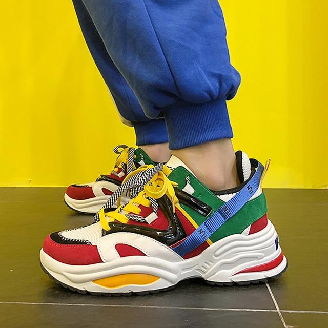 2020 yeni yastık sönümleme erkekler rahat vulkanize ayakkabı ağ dokuma erkek Flats ayakkabı beyaz baba Sneakers siyah açık yürüyüş erkekler