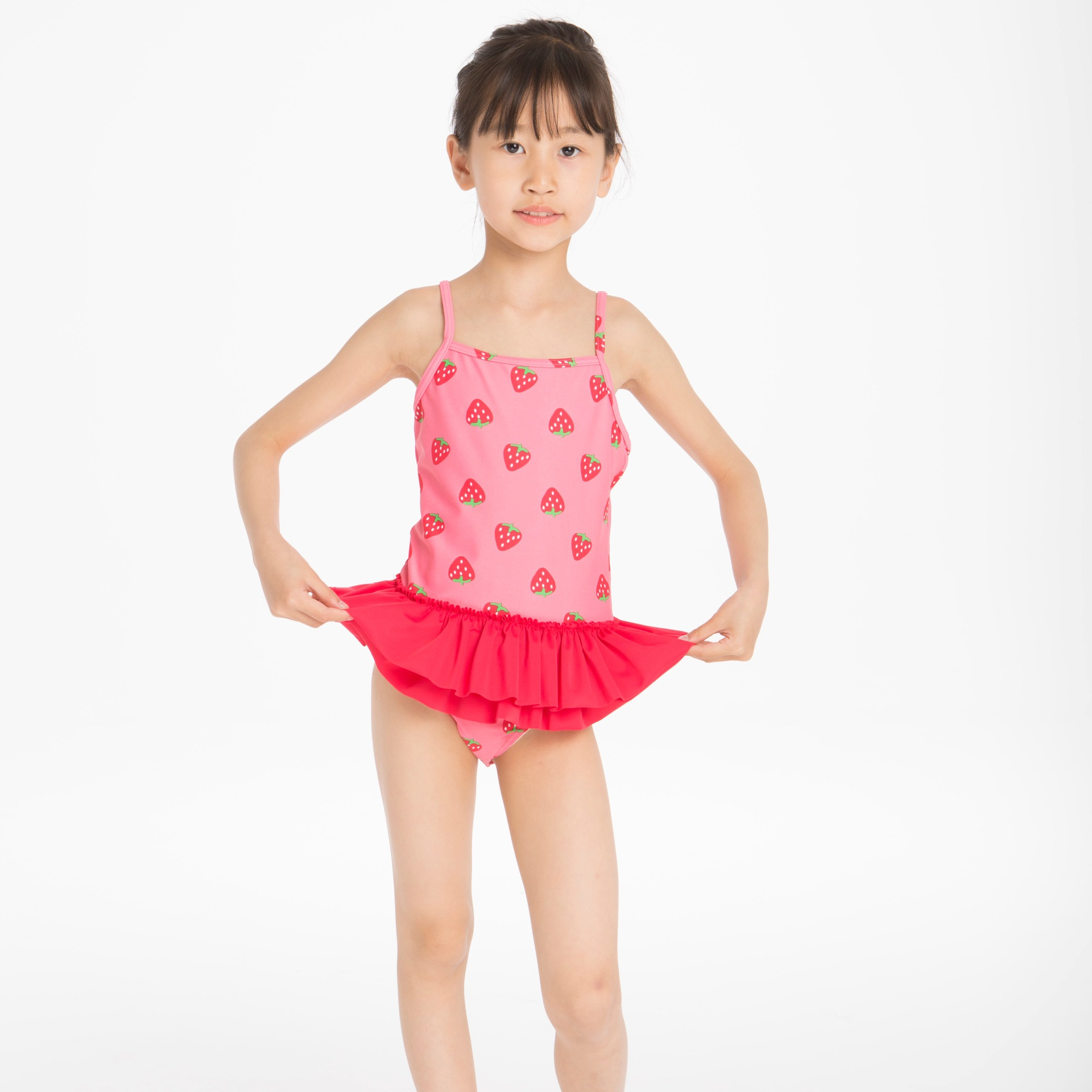 Cross Border Electricity Supplier Supply Of Goods Jinguoyiyi Strawberry Girls One-piece Flounced CHILDREN'S Swimwear Factory