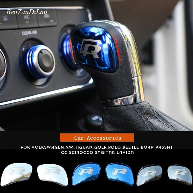 Car Styling R Logo Gear Shift Knob Gear Head Sticker Cover For Volkswagen POLO CC Golf 7 6 Bora Tiguan Passat Scirocco