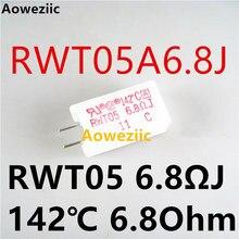 1Pcs RWT05A6.8J RWT05 6.8ΩJ 142 ℃ 5W 6.8Ohm ± 5% MEG05N6R8JB142 5EG 6.8ΩJ Resistência Cimento Vertical com a Proteção da Temperatura