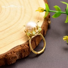 Glseevo grande natural água doce pérola anéis para mulheres meninas lovers casamento noivado jóias de luxo anillos mujer gr0249