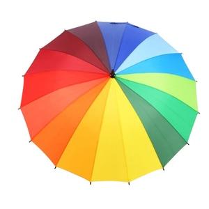 Image 4 - חם מטריית גשם נשים צבעוני 16K קשת ארוך מטריית גברים נשים Windproof Guarda Chuva גולף ברור מטרייה גדול שמשייה
