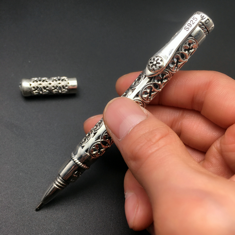 Image 5 - Real Silver Pen Pendant Men S925 Sterling Silver Vintage Carved Openwork Business Pen Pendant Gift Male Pure Silver Pen JewelryPendants   -