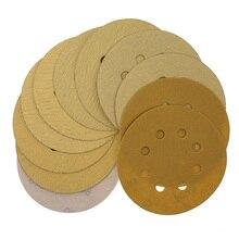 10 Pcs 5 Inch 125MM 8 Löcher Aluminium Oxid 60 zu 1000 Grütze Haken Schleife Schleifpapier Schleifen Disc für metall & Automotive Holz