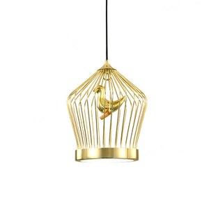 Lamparas птичья клетка, светодиодный подвесной светильник, железные в стиле постмодерн, украшение для ресторана, дизайнерская Подвесная лампа, ...