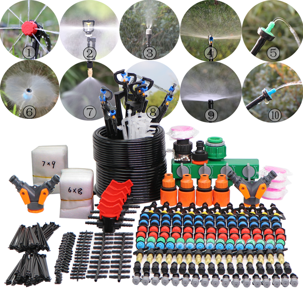 MUCIAKIE 5M-45M Garden Micro Drip Drop Misting Irrigation System Refraction Nozzle Adjustable Watering Kits With Nursery Bags