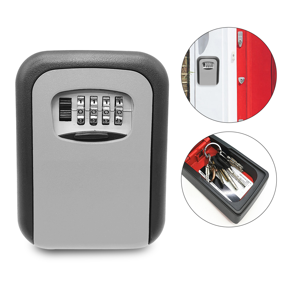 Key Lock Box Wall Mounted Aluminum Alloy Key Safe Box Weatherproof 4 Digit Combination Keys Storage Lock Boxes Indoor Outdoor