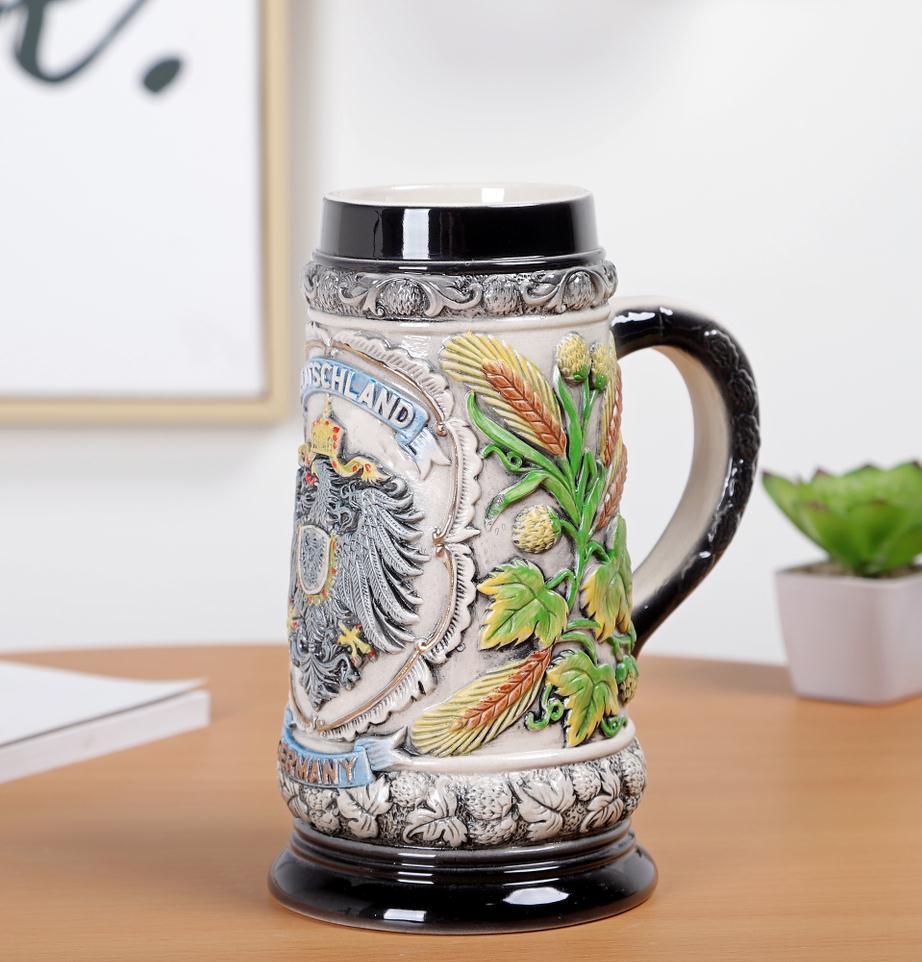 Скандинавском стиле Дворцовая керамическая рельефная чашка для воды винтажная креативная пивная чашка из нержавеющей стали Кружки Кофейн... - 3